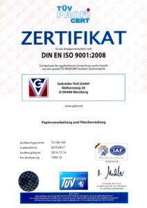 Gebrüder Voit Zertifikat ISO 9001, 1995