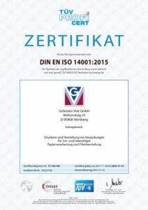 Gebrüder Voit Zertifikat ISO 14001