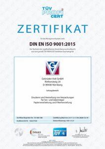 Gebrüder Voit Zertifikat ISO 9001